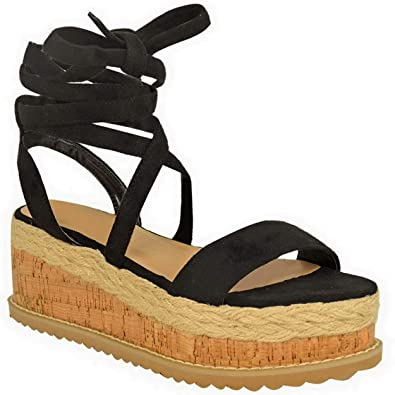aef25d682c Womens Ladies New Flatform Cork Wedge Platform Espadrilles Sandals Ankle LACE  UP TIE UP PEEP Toe Shoes Size: Amazon.co.uk: Shoes & Bags
