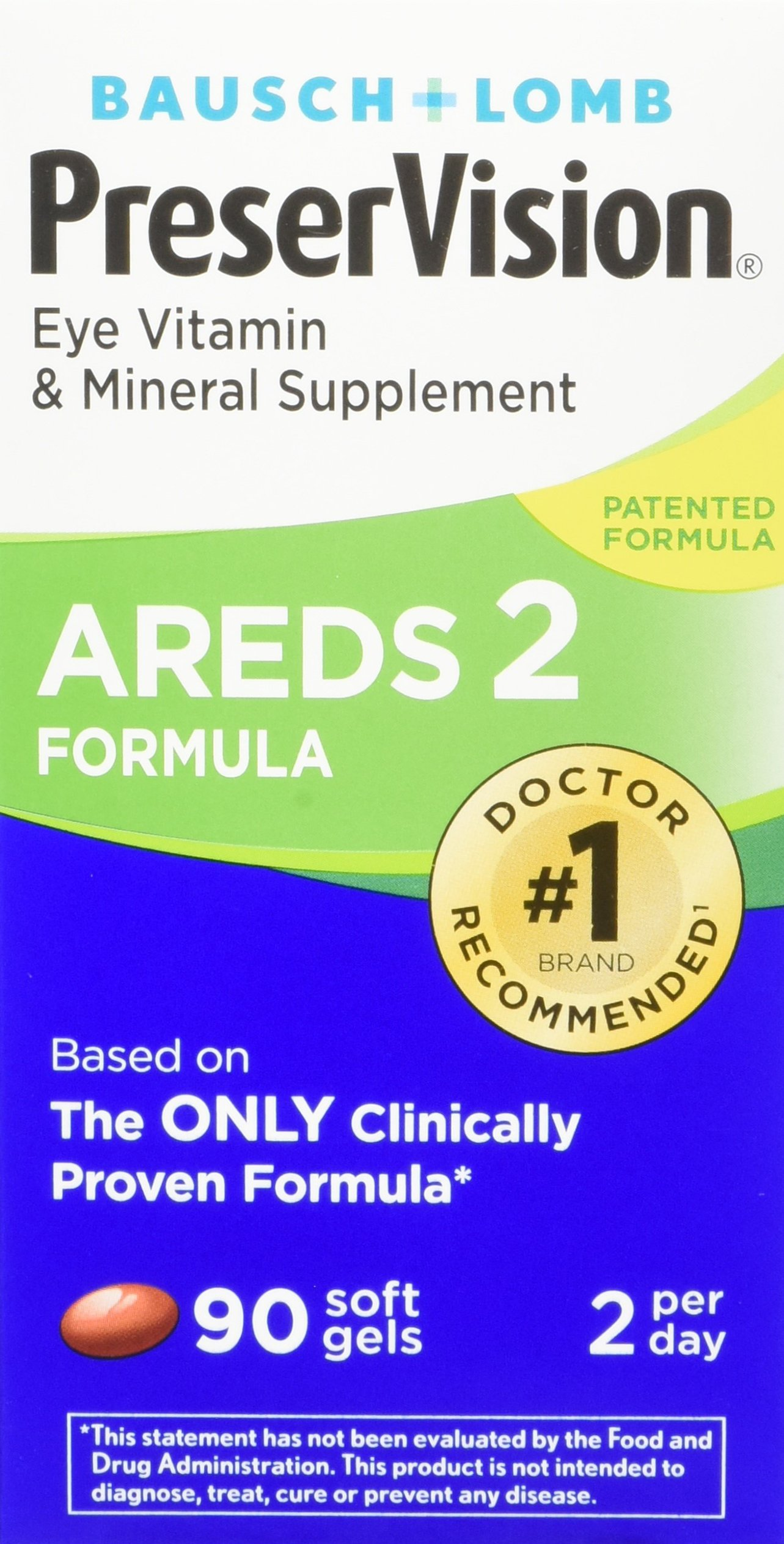 PreserVision AREDS 2 Eye Vitamin & Mineral Supplement, Contains Lutein, Vitamin C, Zeaxanthin, Zinc & Vitamin E, 90 Softgels (Packaging May Vary)