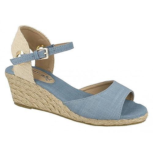 90a73e705da Spot On Womens/Ladies Mid Wedge Espadrille Canvas Summer Shoes