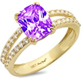 3.50 ct Brilliant Cushion Cut Solitaire with accent Natural Purple Amethyst Gem Stone Ideal VVS1 Engagement Promise…