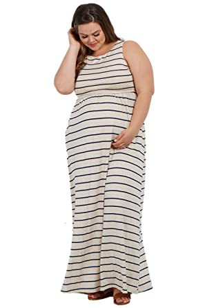 d710a3718e6dcf PinkBlush Maternity Navy Beige Striped Sleeveless Plus Maxi Dress ...