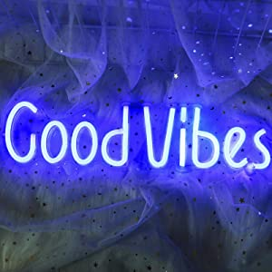 ifreelife Good Vibes Neon Signs(19.5''×5'') Good Vibes Words Neon Lights Acrylic Board Led Signs Room Decor Light for Bedroom Beer Bar Pub Hotel Party Restaurant Game Room Wall Art Decoration