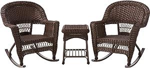 Jeco 3 Piece Rocker Wicker Chair Set, Espresso