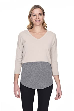 1bed21680e4ab Image Unavailable. Image not available for. Color: State Cashmere Women's  100% Pure Cashmere Color Block V-Neck 12 Gauge Pullover Sweater