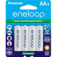 Panasonic BK-3MCCA4BA Eneloop AA 2100 Cycle Ni-MH Pre-Charged Rechargeable Batteries (Pack 4) - BK3MCCA4BF