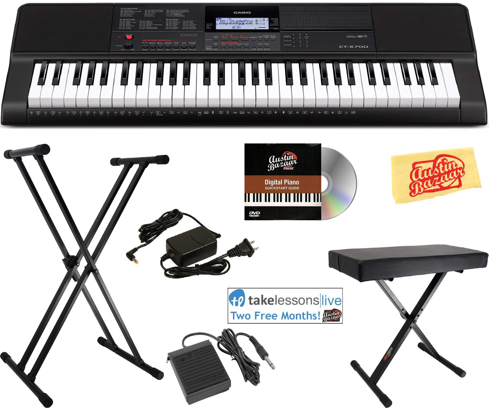 Casio CT-X700 Portable Keyboard Bundle with Stand, Bench, Sustain Pedal, Power Adapter, Austin Bazaar Instructional DVD, and Polishing Cloth by Casio