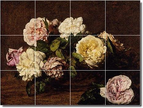 Henri fantin latour fiori backsplash per piastrelle