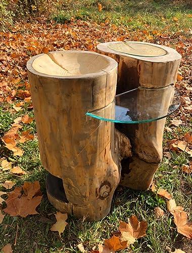 Baumstamm Tisch Couchtisch Beistelltisch Rustikal Echt Holz Massiv