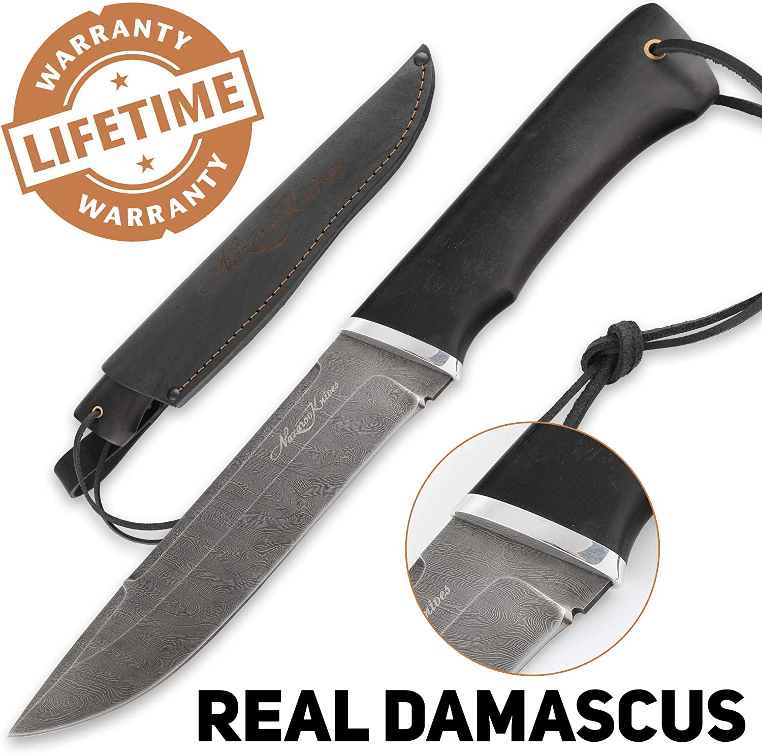 Camping Knife – Sharp Knife – Real Damascus – Hornbeam – VEPR – Leather Sheath