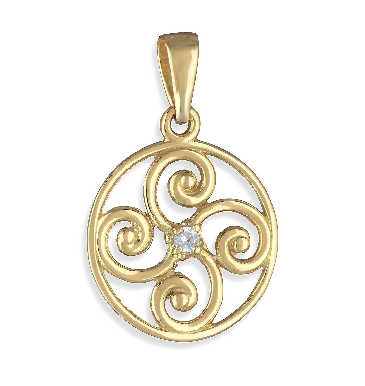 Talisman Jewellery-Pendentif-Croix Basque-Femme-18 carats-Cz
