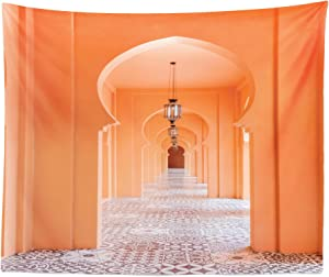 """Lunarable Orient Tapestry King Size, Moroccan Walkway with Motifs and Elements Visual Oriental Photo, Wall Hanging Bedspread Bed Cover Wall Decor, 104"""" X 88"""", Salmon"""