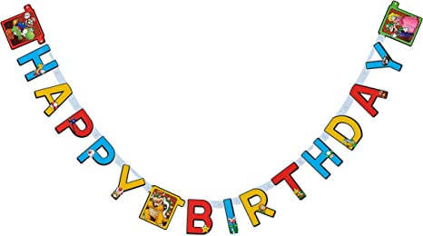 Amazon.com: Super Mario - Pancarta de cumpleaños: Toys & Games