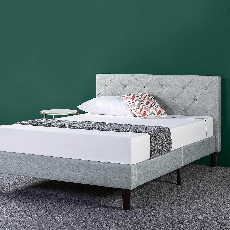 Zinus Upholstered Diamond Stitched Platform Bed in Sage Grey, Full