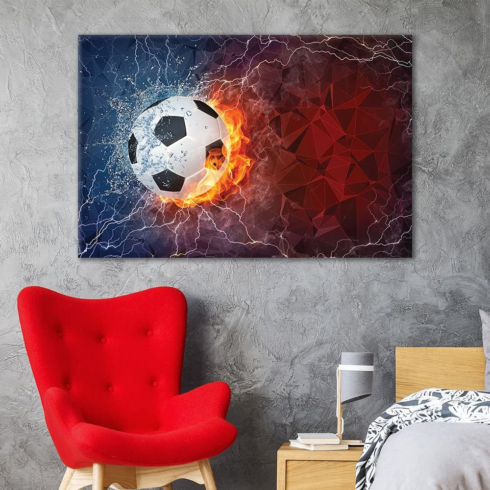 wall26 - Canvas Wall Art Sports Theme - Soccer Fire on Abstract Background - Giclee Print Gallery Wrap Modern Home Art Ready to Hang - 24x36 inches