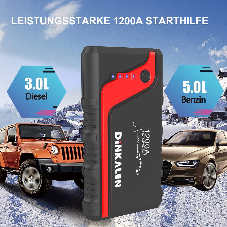 12 V Fino a 6,5 l Benzina, 5,5 l Diesel avviamento Jump Starter con Torcia LED DINKALEN E80 Avviatore Powerbank 1200 A avviamento Automatico