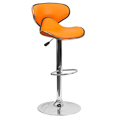 2 Pk. Contemporary Cozy Mid-Back Orange Vinyl Adjustable Height Bar Stool with Chrome Base
