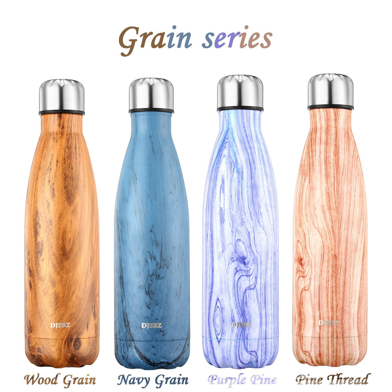 DJSBZ Vacuum Cola Shape Double Walled 18/8 Stainless Steel Water Bottle Leak-proof Keep Hot & Cold, Travel Sports Personalized Metal Water Bottle,17 Oz (500 ml) Wood Grain by DJSBZ (Image #5)