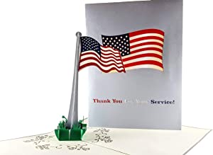 iGifts And Cards Military Appreciation 3D Pop Up Greeting Card - Hero, American Flag, Inspirational, Half-Fold, Veterans, Memorial, Patriotic, USA, All Occasion, Welcome Home, Retirement, Miss You