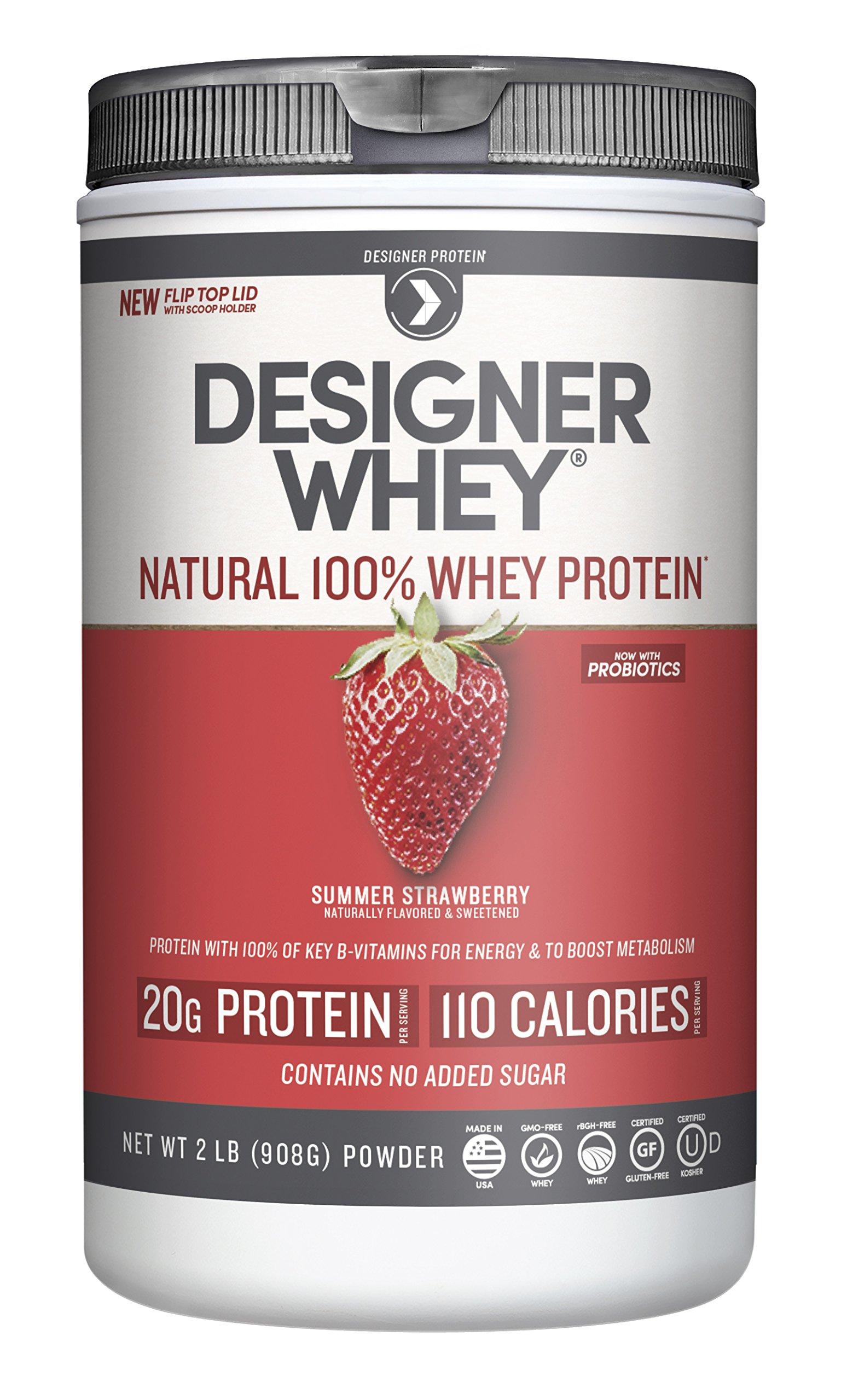 Designer Whey Premium Natural 100% Whey Protein, Summer Strawberry, 2 Pound