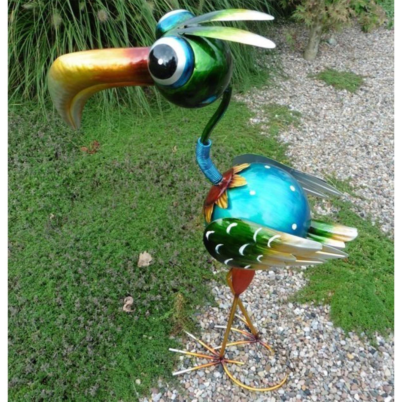 Paradiesvogel 60 cm Metall Gartenfigur Gartendeko Metallfigur Vogel aufwendig verarbeitet