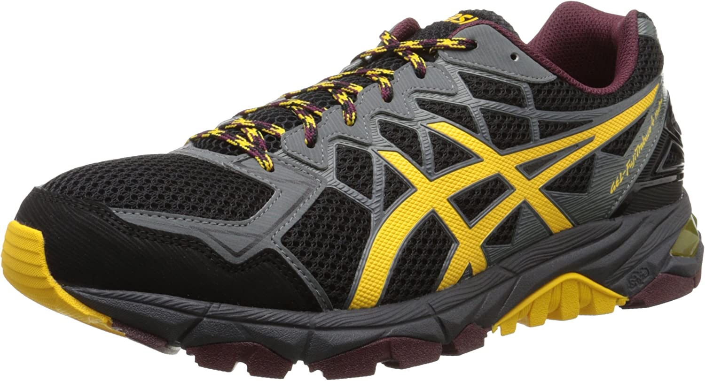 Asics Hombres de Gel Fuji Trabuco 4 Neutral Zapatilla de Running, Negro (Black/Spectra Yellow/Royal Burgundy), 9,5 D(M) US: Amazon.es: Zapatos y complementos