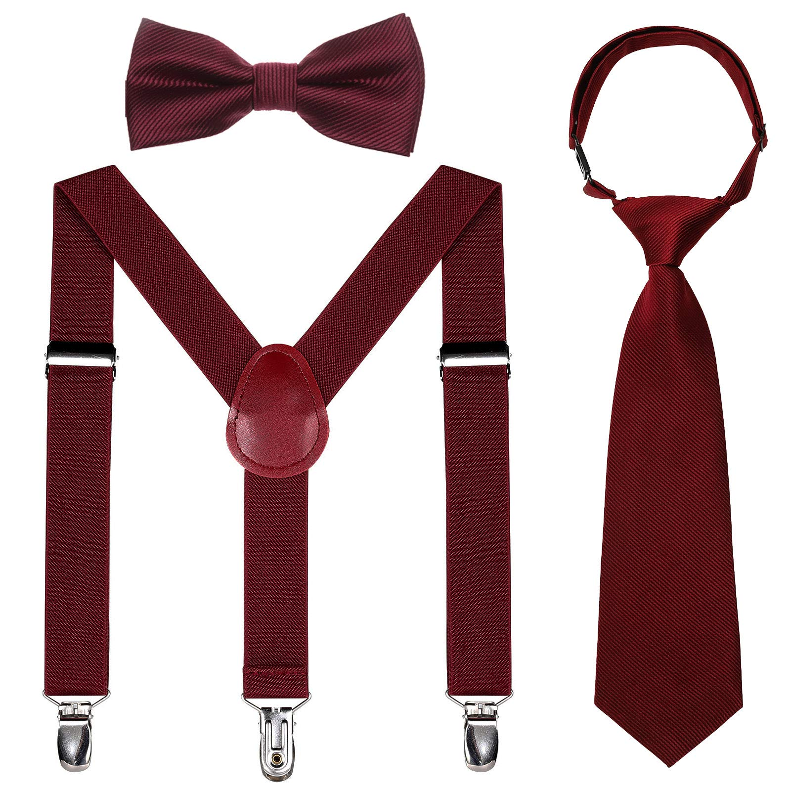 Kids Suspender Bowtie Necktie Sets - Adjustable Elastic Classic Accessory Sets for 6 Months to 13 Year Old Boys & Girls (Wine red, 26 Inches (Fit 6 Months to 6Years)) by Kajeer