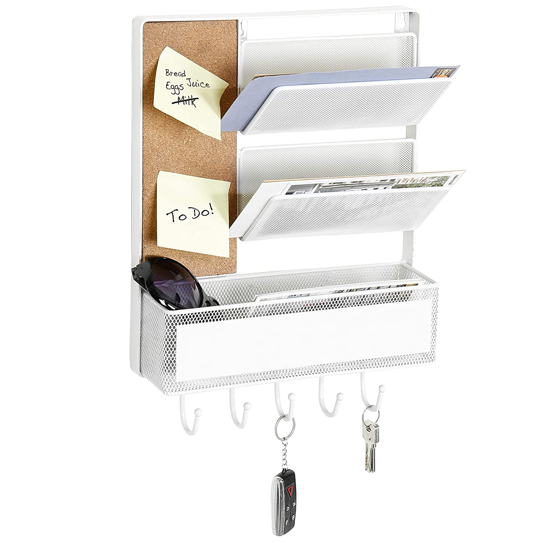 MyGift White Mesh Metal Wall Mounted Organizer with Cork Board & 5 Key Hooks