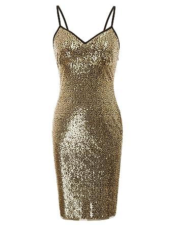 44142d420d6cbf Kate Kasin Women s Spaghetti Straps V-Neck Sequined Bodycon Evening Party  Dress