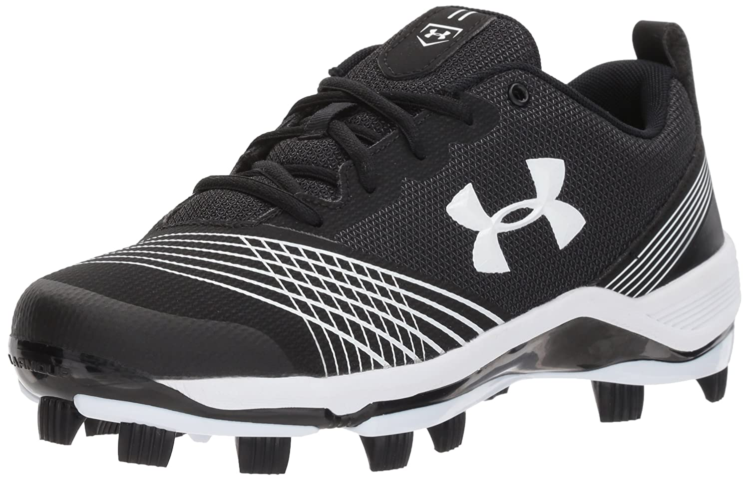 Under Armour Women's Glyde TPU Softball Shoe, Black/Black B06XCL958B 6 M US|Black (011)/White