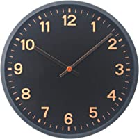 Comodo Casa Wall Clock- ABS Frame-Glass Cover-Non Ticking-Quartz Sweep-Silent 12 inch Wall Clocks (Black-Rosegold)