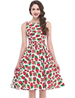 Belle Poque 1950's Floral Retro Swing Dress Party Cocktail Dress BP02 (Multi-Colored)