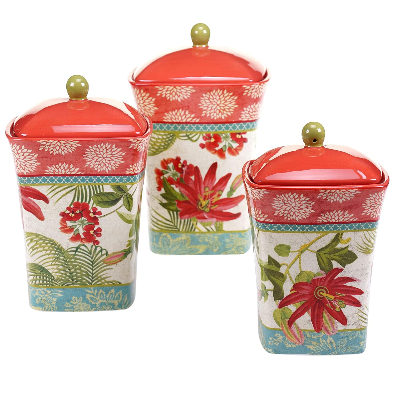 Certified International 13928 3 Piece Umbria Canister Set, Multicolor
