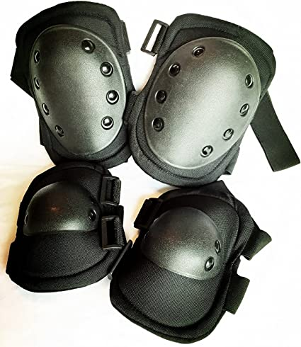 Army Tactical Elbow Protectors Security Protection Pads Airsoft Paintball Black