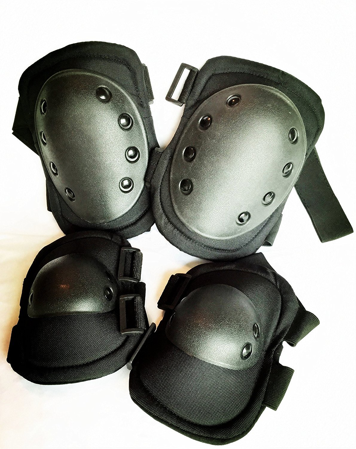 Bargain Crusader Military Tactical Knee Pad Elbow Pad Set Airsoft Knee Elbow Protective Pads Combat Paintball Skate Outdoor Sports Safety Guard Gear (Black) by Bargain Crusader