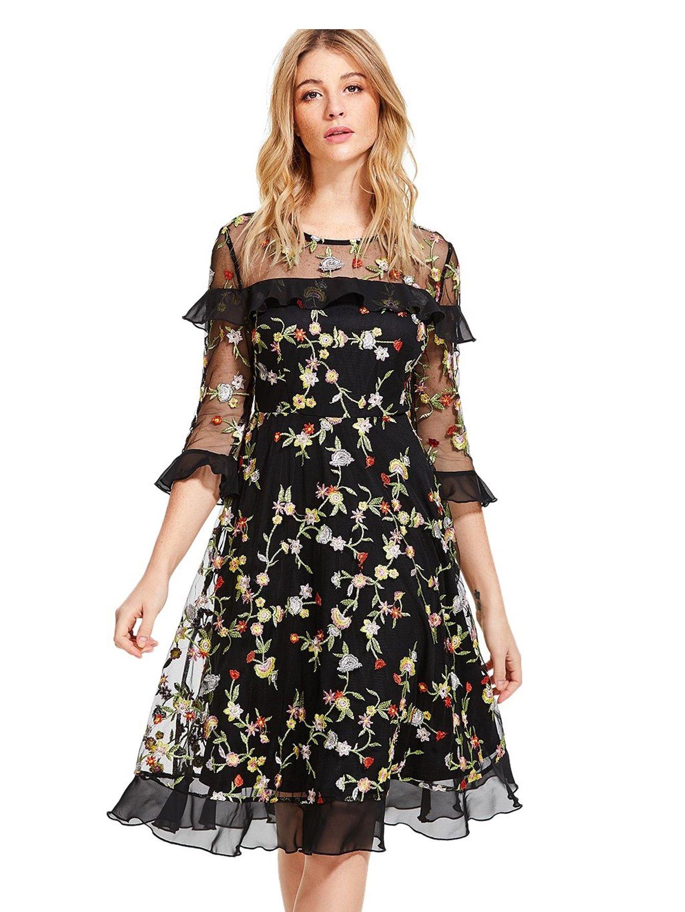 Verdusa Women's Floral Embroidered 3/4 Flounce Sleeve Dress