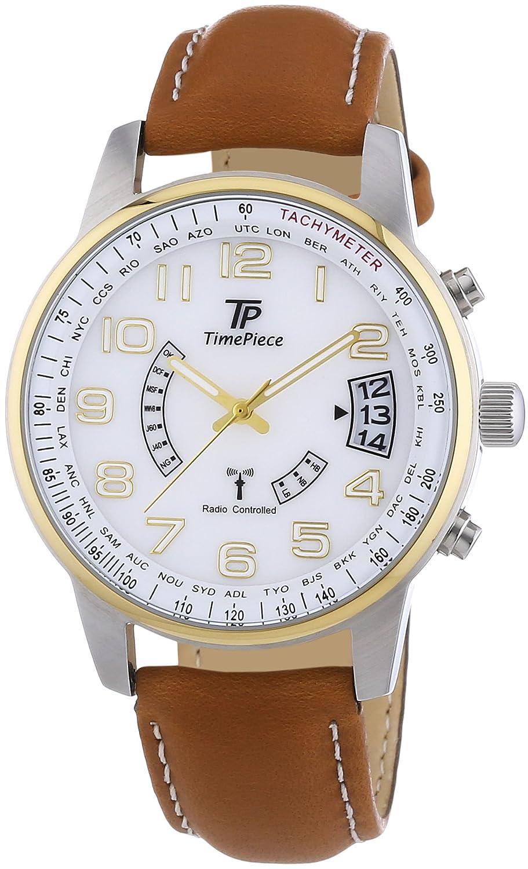 Time Piece Herren-Armbanduhr XL Funk Analog Quarz Leder TPGS-10289 ...