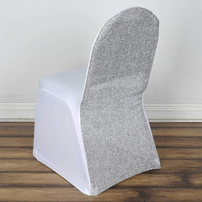 Tableclothsfactory 30ピース ホワイト/シルバー スパンデックス ストレッチ 宴会 椅子カバー メタリックグリッテ ダイニングイベント スリップカバー パーティー用   B07J49PC3G