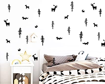 A Kids Room Decal, Woodland Wall Decals, Forest Wall Stickers, Fox Wall  Decal