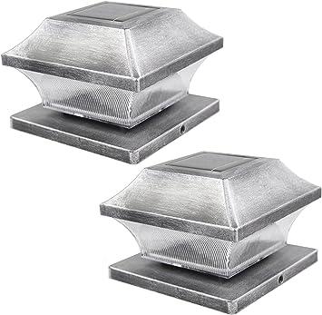 "Brown White Silver 4/""x4/"" Solar Post Deck Cap Fence LED Light 4-Pack Black"