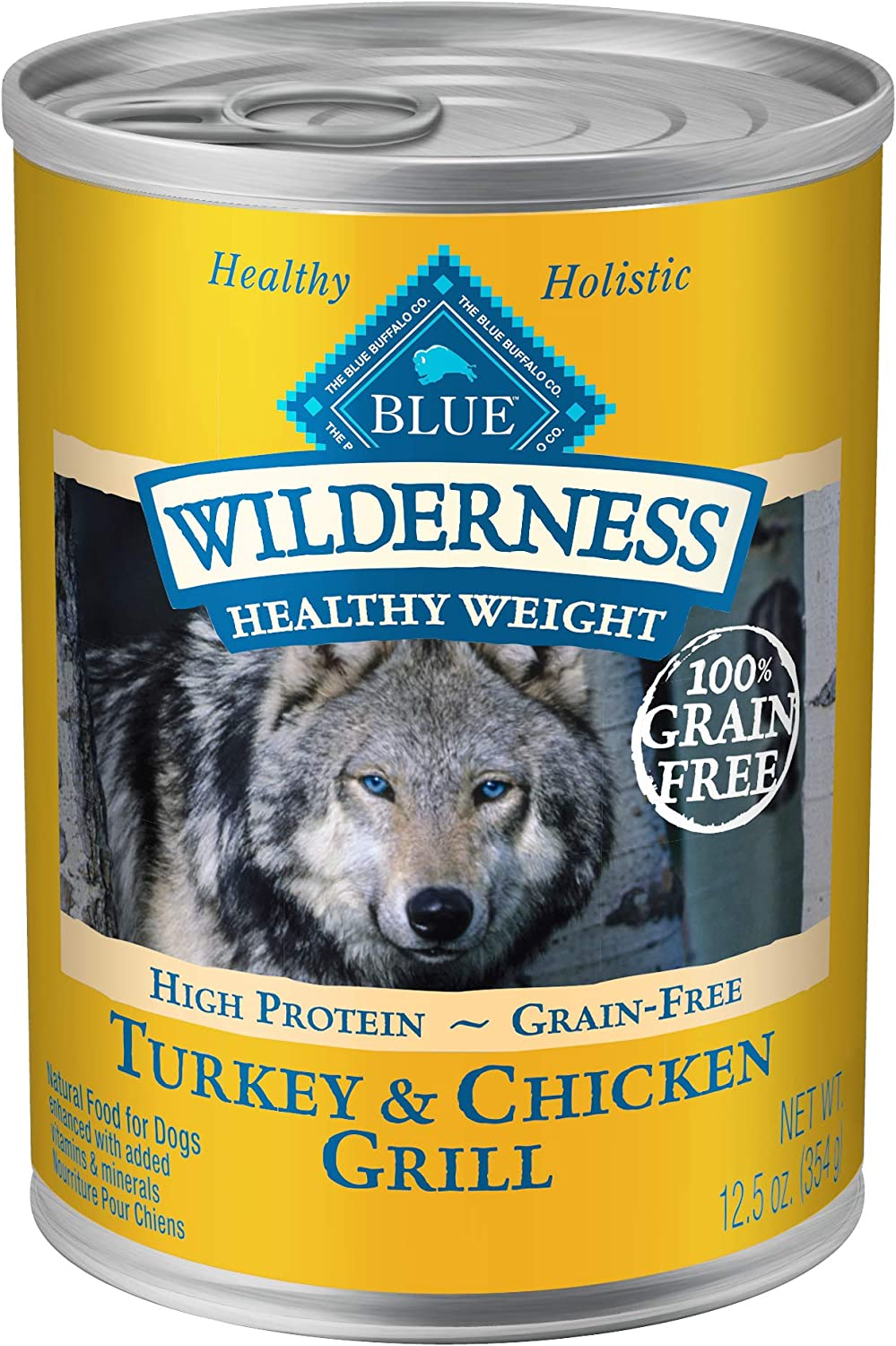 Blue Buffalo Wilderness High Protein Grain Free, Natural Adult Healthy Weight Dog Wet Food, Turkey Chicken Grill 12.5-Oz Can Pack Of 12