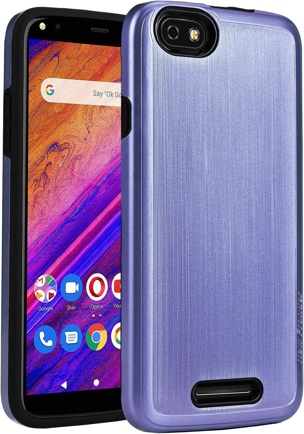 BLU Studio Mega 2019 Case,NEW FRONTIER 100% Slim-Fit [Merge] Strong Protective Shock Proof Dual Layer Precise Cutouts Bumper Style Phone Case for BLU Studio Mega 2019 (Purple)