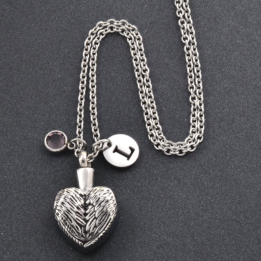 Personalized Feather Angle Heart Keep Love Cremation Jewelry Stainless Steel Ashes Necklace with Funnel