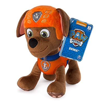 """Paw Patrol – 8"""" Zuma Plush Toy, Standing Plush with Stitched Detailing, for Ages 3 & Up: Toys & Games"""