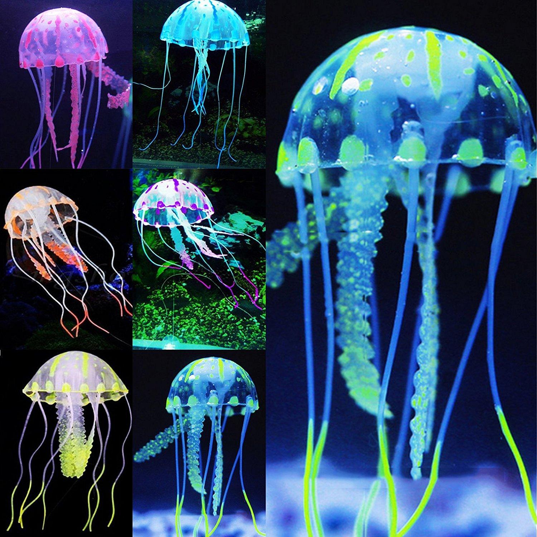 SRI Neon Orange Glowing Jellyfish Ornament Fish Tank Décor