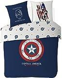 Disney Captain America–Juego de Cama, algodón, Azul, 140x 200