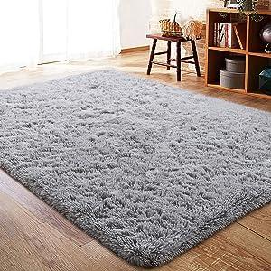 ISEAU Fluffy Rug Carpets Soft Shaggy Area Rug Indoor Floor Rugs for Kids Room Fuzzy Carpet Comfy Cute Nursery Rug Bedside Rug for Boys Girls Bedroom Living Room Home Decor Mat, 3ft x 5ft, Grey