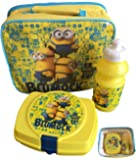 Childrens 3 Piece Insulated Minions Lunch Bag Set Sandwich Box Sports Bottle