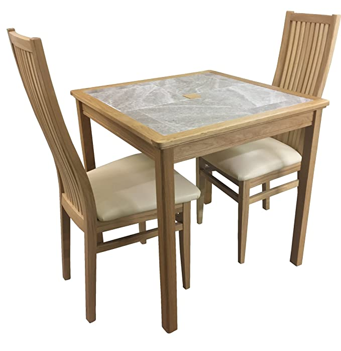 a94e615d150 AnBerCraft Beaumont Range Grey Tile Top Small Dining Table Set with 2  Cambridge Chairs