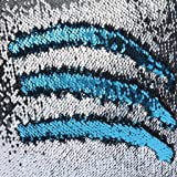 Caso Sofá-cama Cintura Amortiguador Cubierta de Resbalón Almohadilla Reversible Lentejuelas Satén Azul