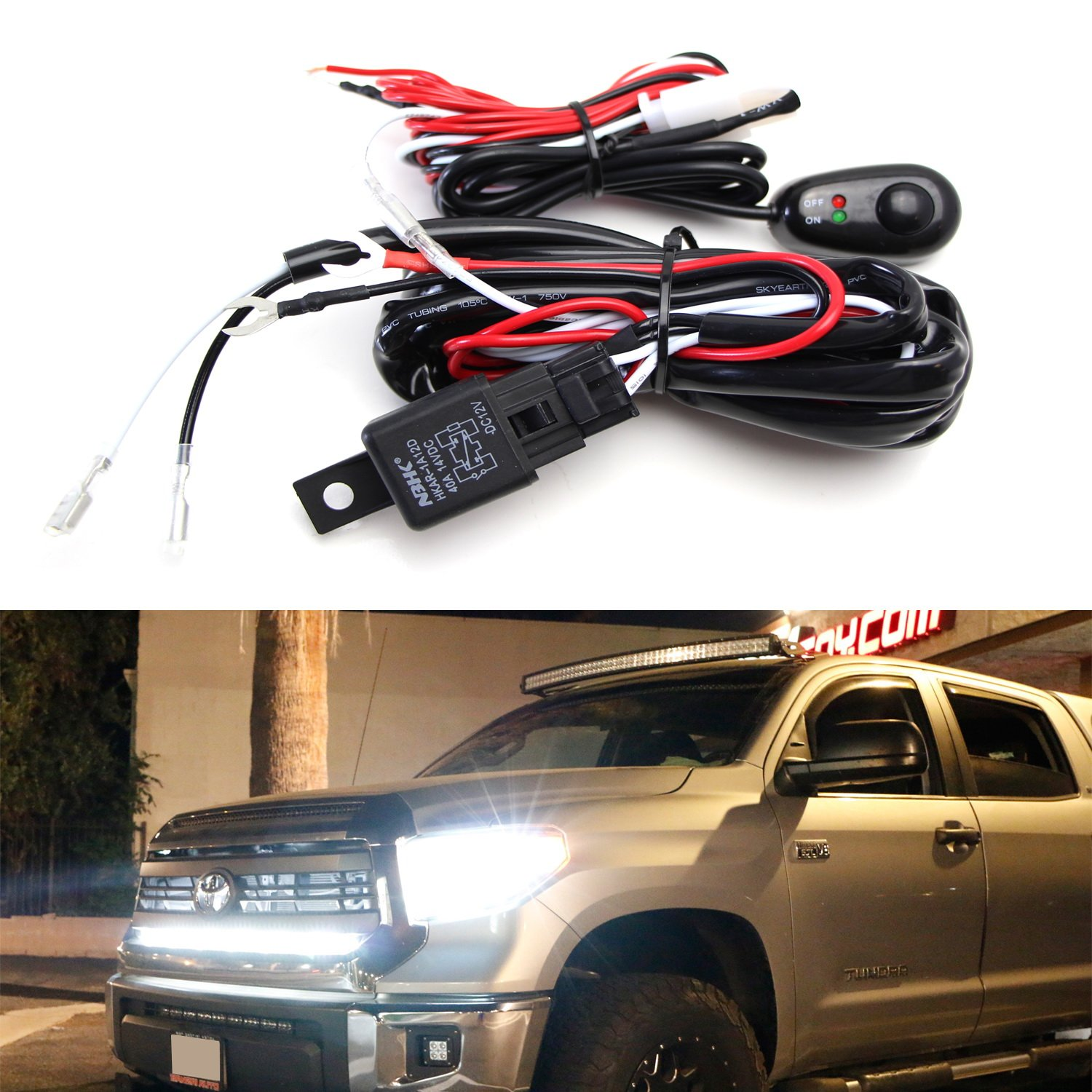 Amazon.com: iJDMTOY (1) LED Light Wiring Harness w/ LED Light Indicator  On/Off Switch Relay Kit For LED Lightbar (Single Channel): Automotive